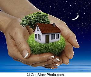 hus, säljande, stjärnor, fyllda, natt