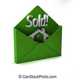 hus, såld, logo