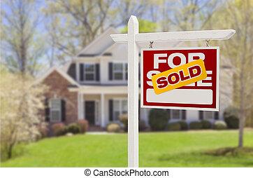 hus, såld, realisation signera, front hemma, färsk