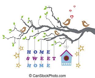hus, sød, nye, card, hjem
