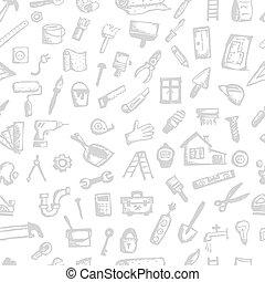 hus, seamless, design, mönster, din, reparera