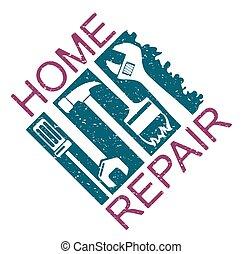 hus, silhuett, reparera
