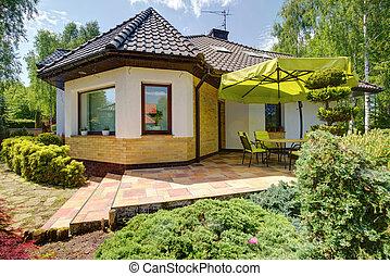 hus, singel, terrassera, familj