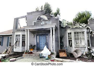 hus, skadat, katastrof