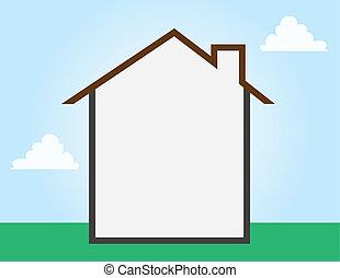 hus, skissera, tom