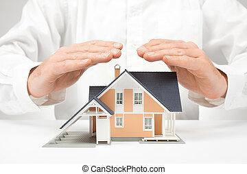 hus, skydda, begrepp, -, försäkring