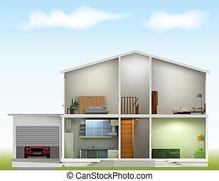 hus, snitt, med, interiörer, på, mot, den, sky