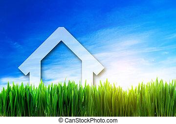 hus, solig, fält, grön, perspektiv, färsk