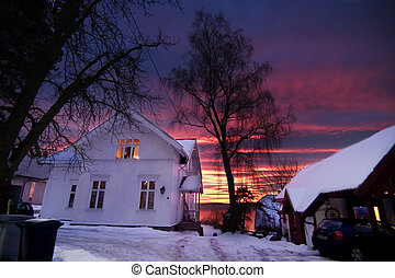 hus, solnedgång