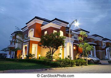 hus, solnedgång, lyxvara