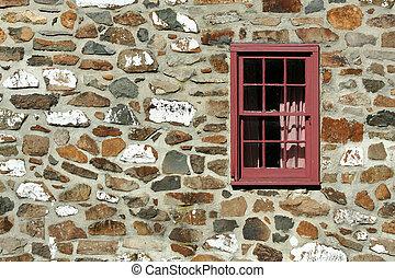 hus, sten, gammal, fönster