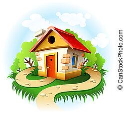 hus, sti, fairy-tale, træer, gang