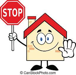 hus, stopp, holdingen, underteckna