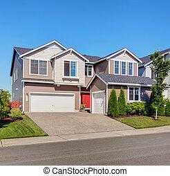 hus, stor, privat väg, yttre, garage
