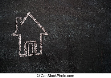 hus, svart, chalkboard