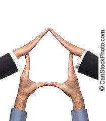 hus, symbol, lavede, af, hænder