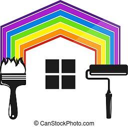 hus, symbol, målning, verktyg