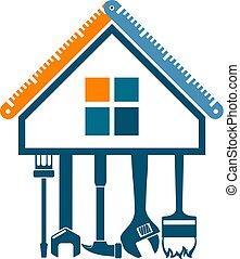 hus, symbol, reparera