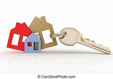 hus, symbol, sæt, nøgle