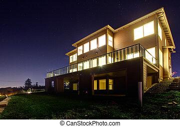 hus, synhåll, natt, on., lyse