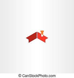 hus, tak, lampglas, ikon, vektor, symbol