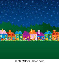 hus, tecknad film, bakgrund