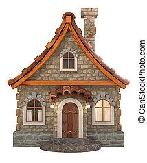 hus, tecknad film, illustration, 3