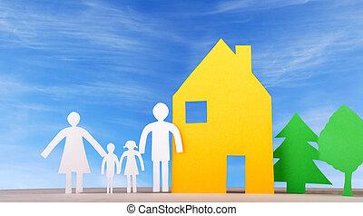 hus, träd, familj