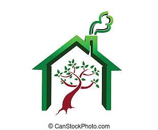 hus, träd, illustration