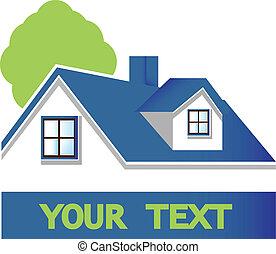 hus, träd, logo