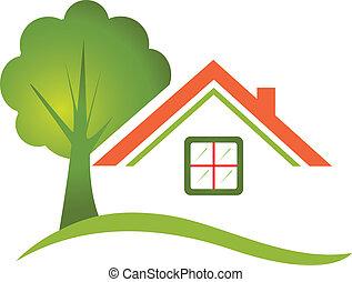 hus, træ, by, egentlig estate, logo