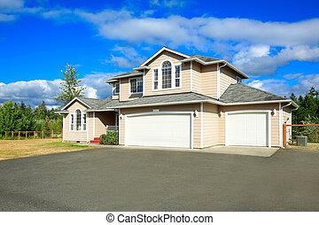 hus, två, garage, privat väg, yttre, bil