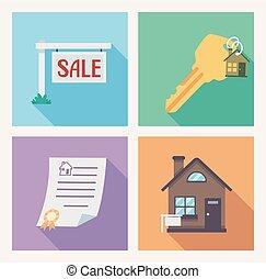 hus udsalg i, iconerne, illustration