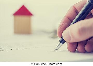 hus, underteckna, försäljning, gärning, man