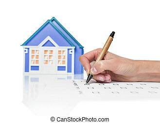 hus, underteckna, kvinnlig, avtal