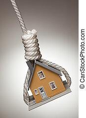 hus, uppe, bundet, snara, hängande