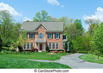 hus, usa, förorts-, ensam släkt, md, hem, tegelsten