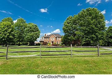 hus, usa, georgiansk, ensam släkt, gräsmatta, hem, staket