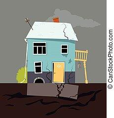hus, utfärdar, grundande