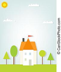 hus, utklippsfigur, illustration, träd.