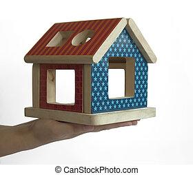 hus, ved, färgrik, leksak