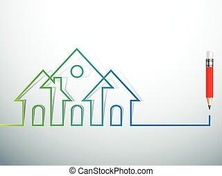 hus, vektor