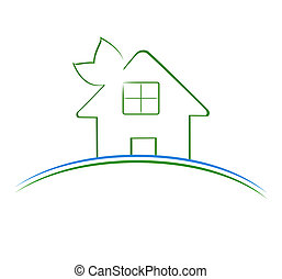 hus, vektor, grön, illustration, ikon