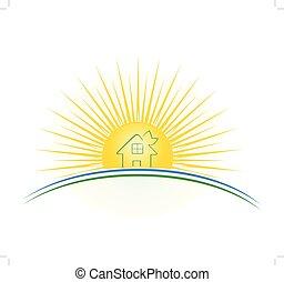 hus, vektor, grön, solnedgång, illustration