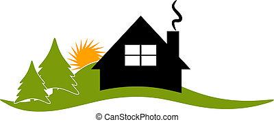 hus, vektor, grindstuga, logo, stuga, ikon