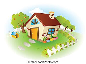 hus, vektor, illustration