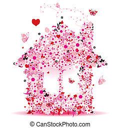 hus, vektor, konstruktion, illustration, blomstrede, din