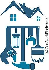 hus, vektor, reparera