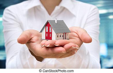 hus, verklig, fastighetsmäklare, -, leverera, egendom