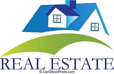 hus, verklig, logo, vektor, egendom